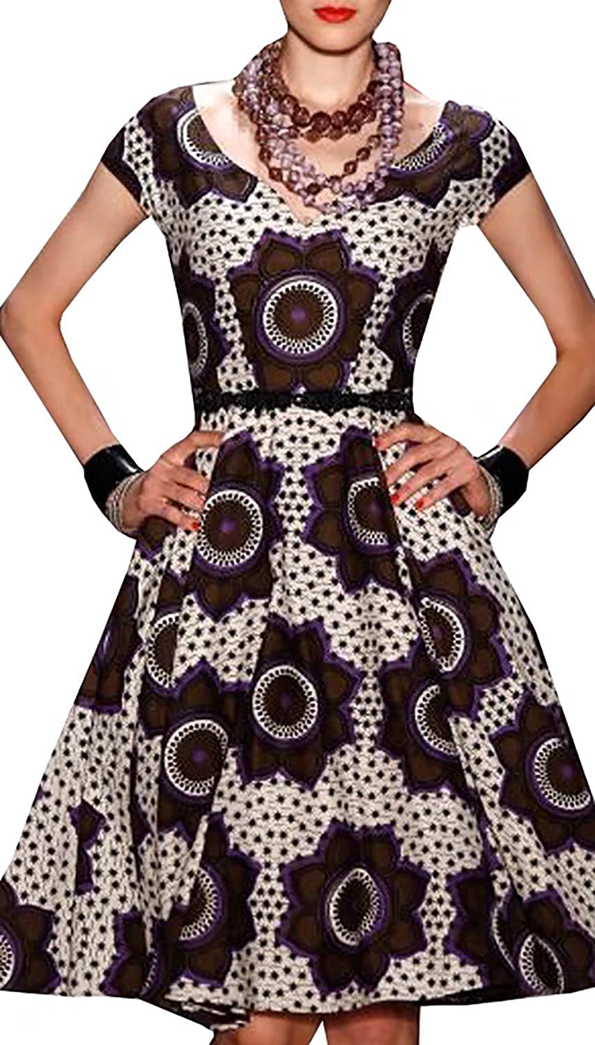 Dellytop Women Cap Sleeve African Print Dashiki Style Floral Party Dress 3Y1230