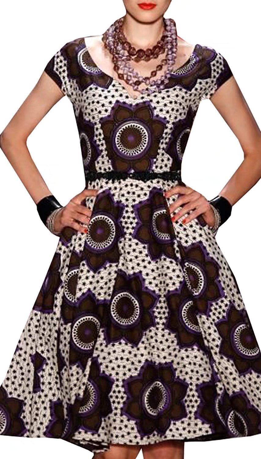 Dellytop Women Cap Sleeve African Print Dashiki Style Floral Party Dress