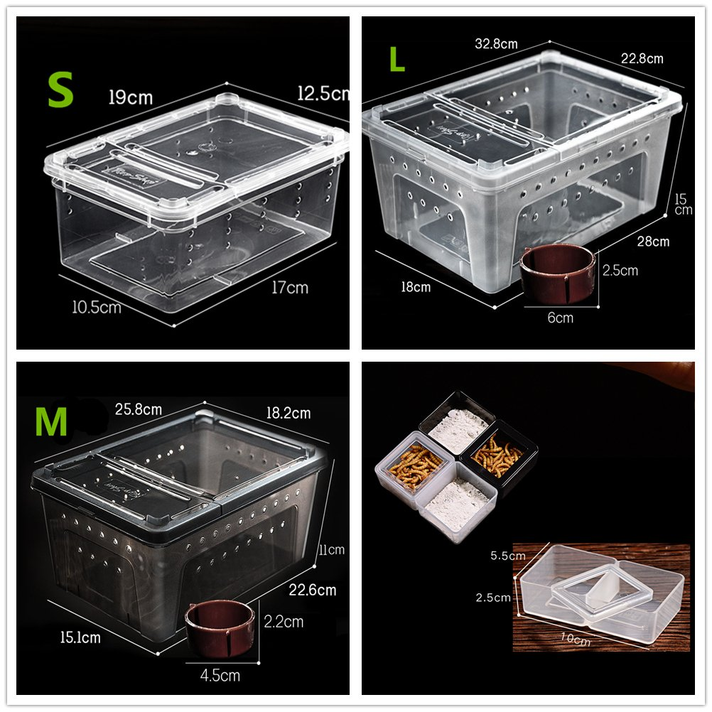 DREAMER.U Portable Reptile Terrarium Habitat Reptile Hatching Container for tarantulas, geckos, crickets, snails, hermit crabs, frogs, lizards, baby tortoise and snakes (Large, White) by DREAMER.U (Image #3)