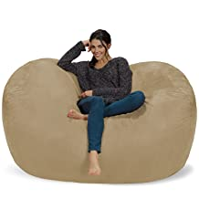 Chill Sack Bean Bag Chair: Huge 6' Memory Foam Furniture Bag and Large Lounger - Big Sofa with Soft Micro Fiber Cover - Camel