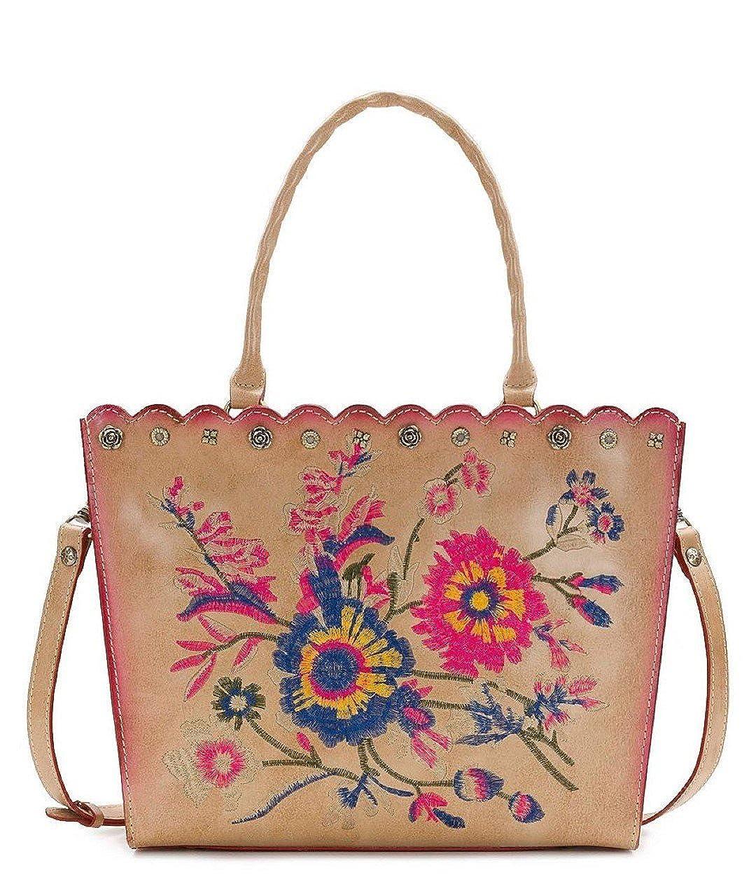 5926dcbe38eb67 Amazon.com: Patricia Nash Zancona Sand Embroidered Leather Tote: Shoes