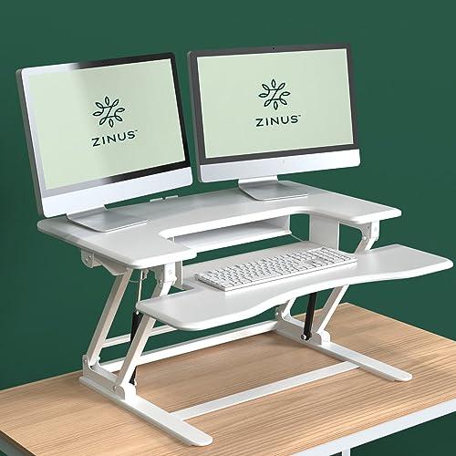 Zinus Betsy Smart Adjust Standing Double Desk / Adjustable Height Desktop Workstation