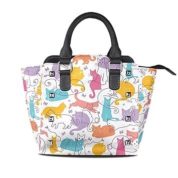 COOSUN Mujeres coloridas gatos patrón PU cuero Bolsa de hombro asa superior del totalizador del bolso del bolso de Crossbody Medio Multicolor: Amazon.es: ...