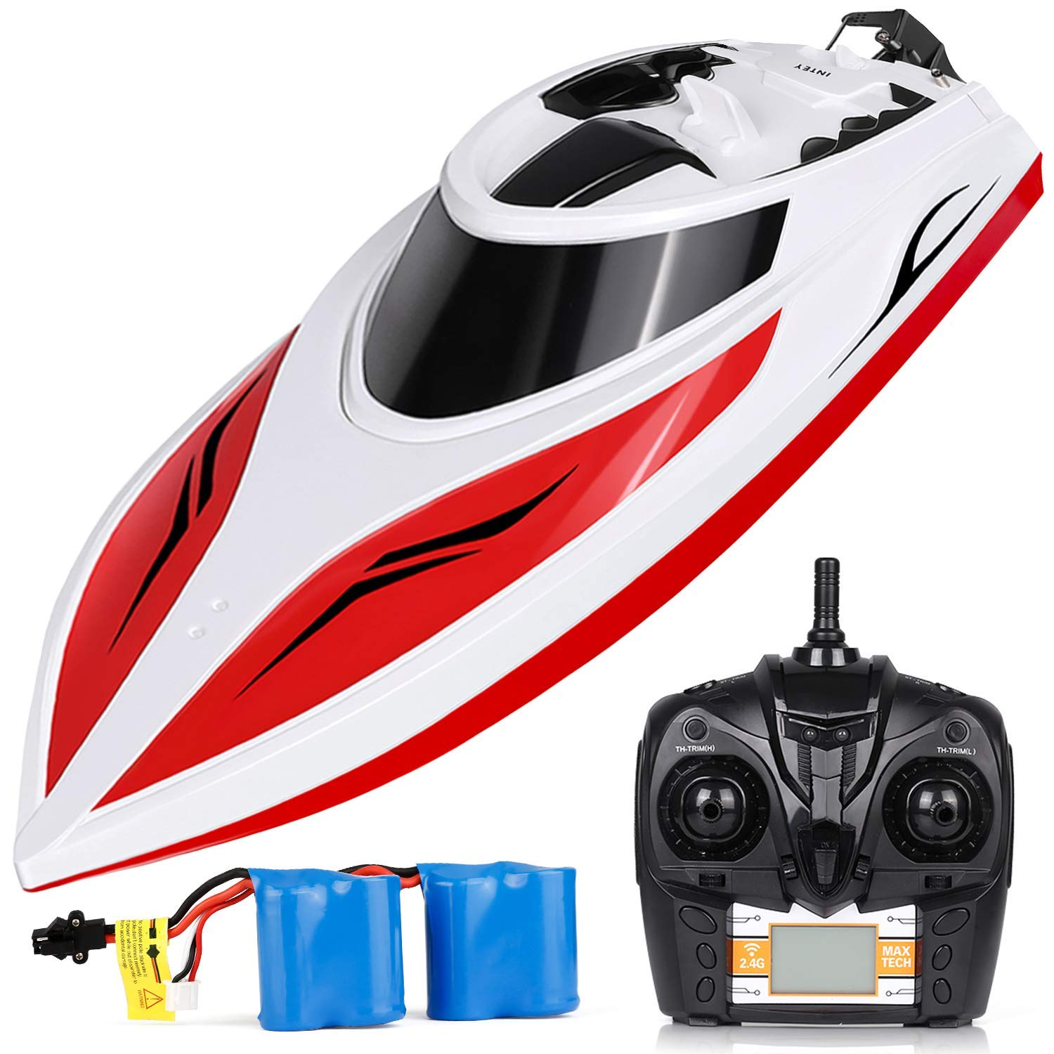 INTEY RC Boats for Kids & Adult - H102 20+ mph Remote Controlled RC Boat for Pool & Lakes, Speed Boat with 4 Channel & Capsize Recovery, a Must for Outdoor Adventure, Red by INTEY
