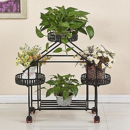 ZHEN GUO Forma de la casa decorativa 3 planta escalonada Escalera de la planta Metal flores