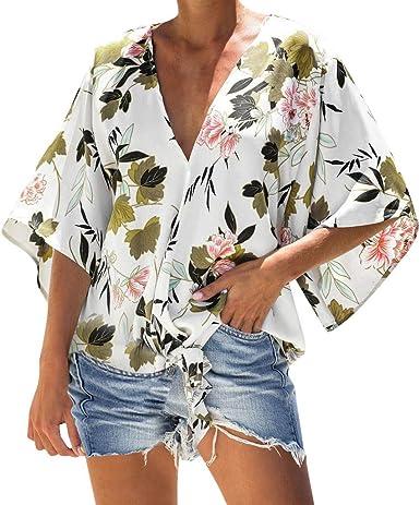 Berimaterry Blusas Mujer Manga Corta Verano Camisas Rayas Fuera del Hombro Camisetas Moda 2019 Mujer Blusa Corta Cuello V Camiseta de Mujer Mangas Cortas Camisa Casual de Liso Size S-XXL: Amazon.es: Ropa