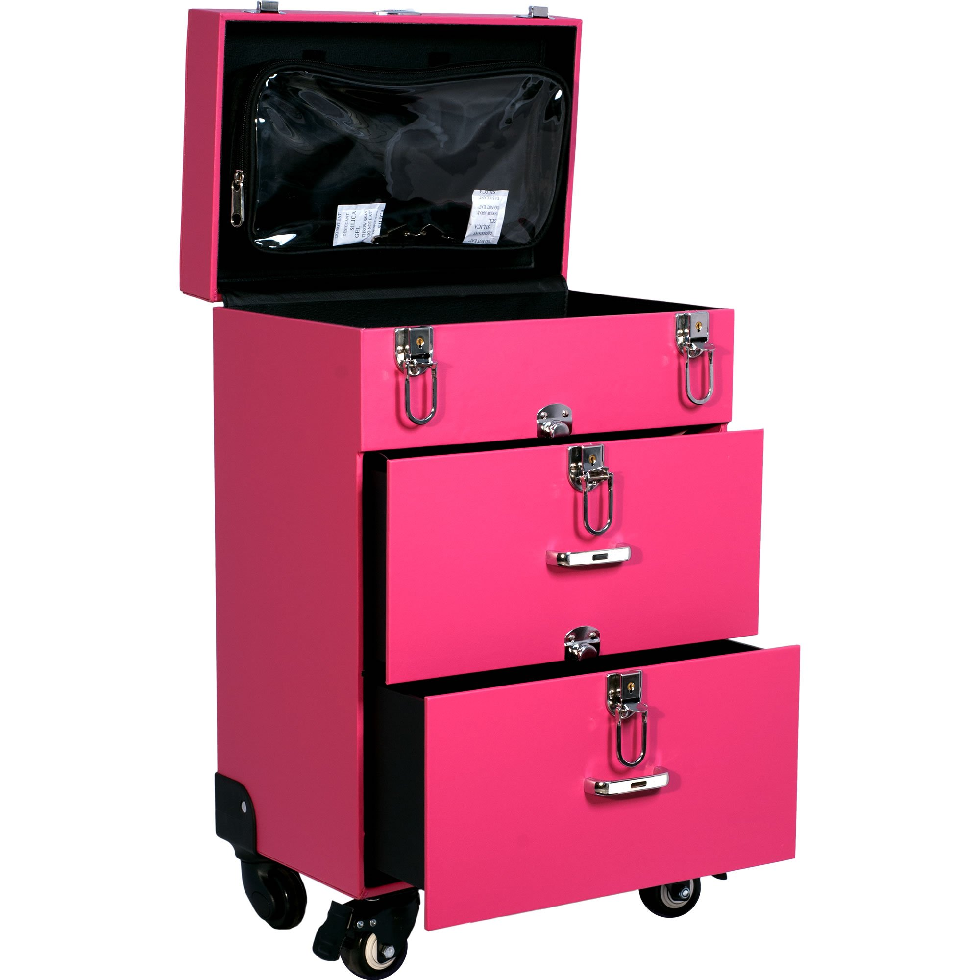 Sunrise Faux Leather Professional Nail Artistry 4 Wheel Rolling Makeup Case, Pink by SunRise (Image #1)