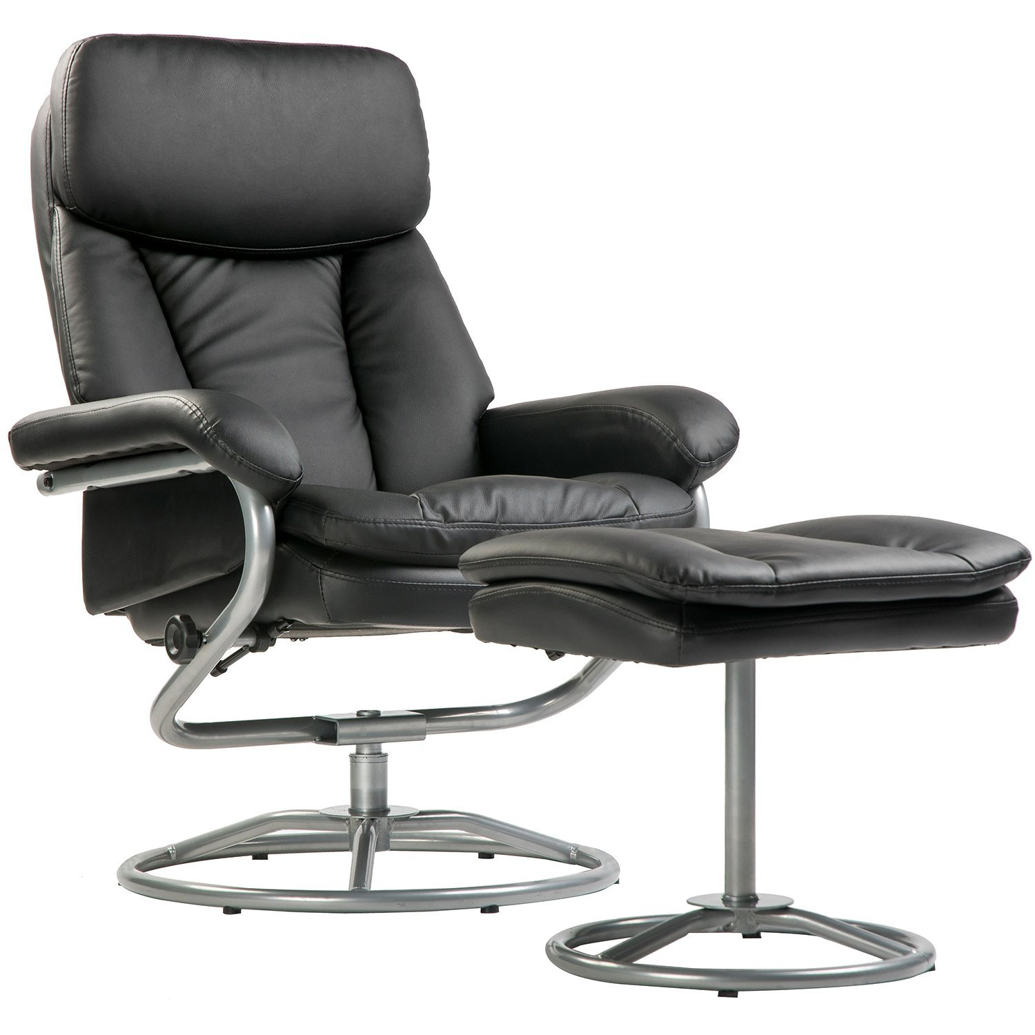 Amazon Merax Black Pu Leather Recliner And Ottoman With Metal Base Kitchen Dining