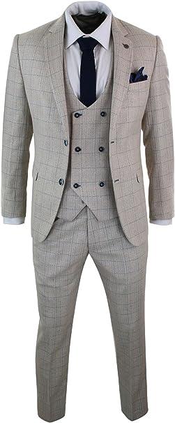 Amazon.com: Marc Darcy para hombre 3 piezas crema beige azul ...
