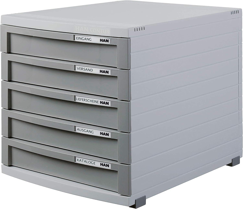 Struttura portadocumenti con 5 cassetti chiusi Han formato B4 linea Contur grigio