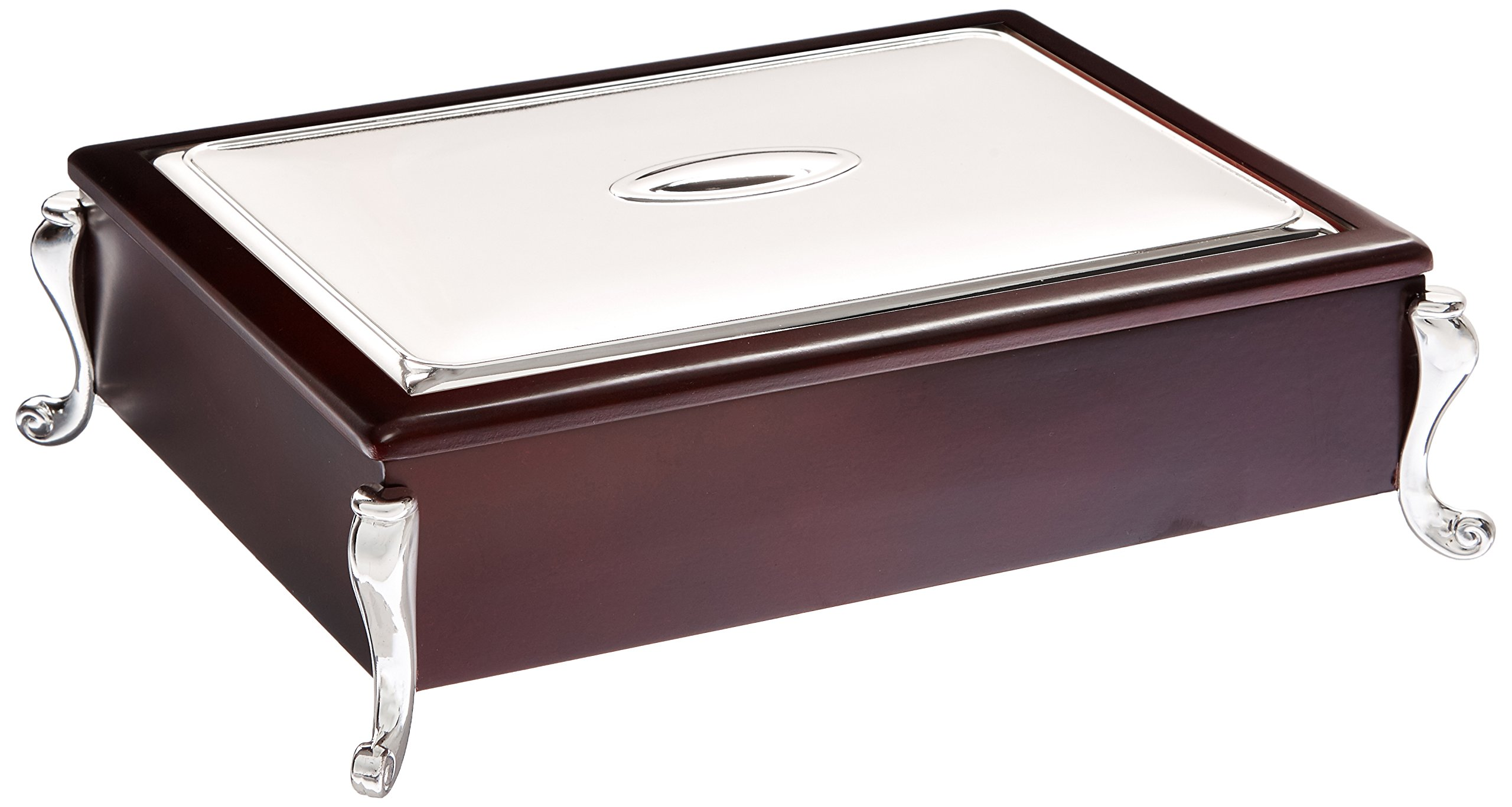 Elegance Silver 20401 Silver Plated and Wooden Tea Bag Chest