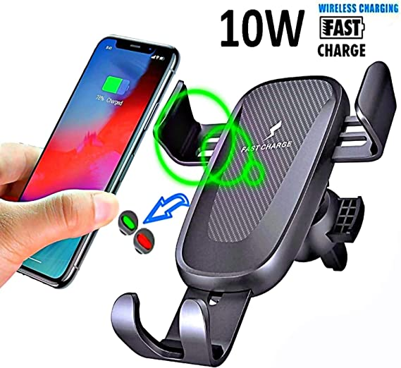 Automatic Gravity Clamping Mount S10e iPhone XR//XS//XS Max//X//8//8 Plus and QI Enabled Devices Wireless Car Charger Fast Charging QI Air Vent Phone Holder Compatible with Samsung Galaxy Note 9 Gold 7W /& 5W fast Charging S10+ 10W