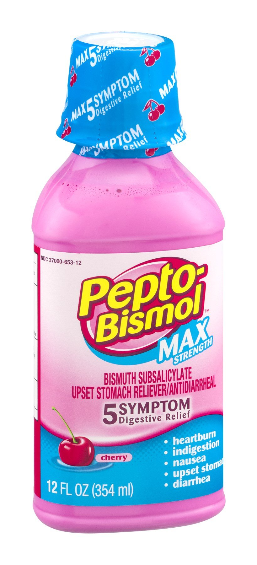 Pepto-Bismol Upset Stomach Reliever 5 Symptom Max Strength Cherry