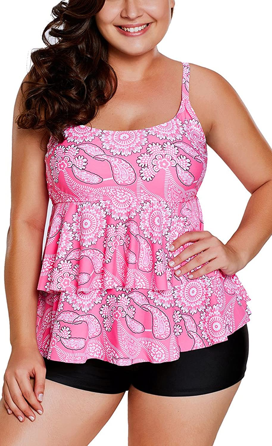 12e4cde8ee691 Top2: Lu&lu Women\'s Stylish Pink Paisley Print Ruffle Layered Tankini and  Short Set Sexy Plus Size Swimwear