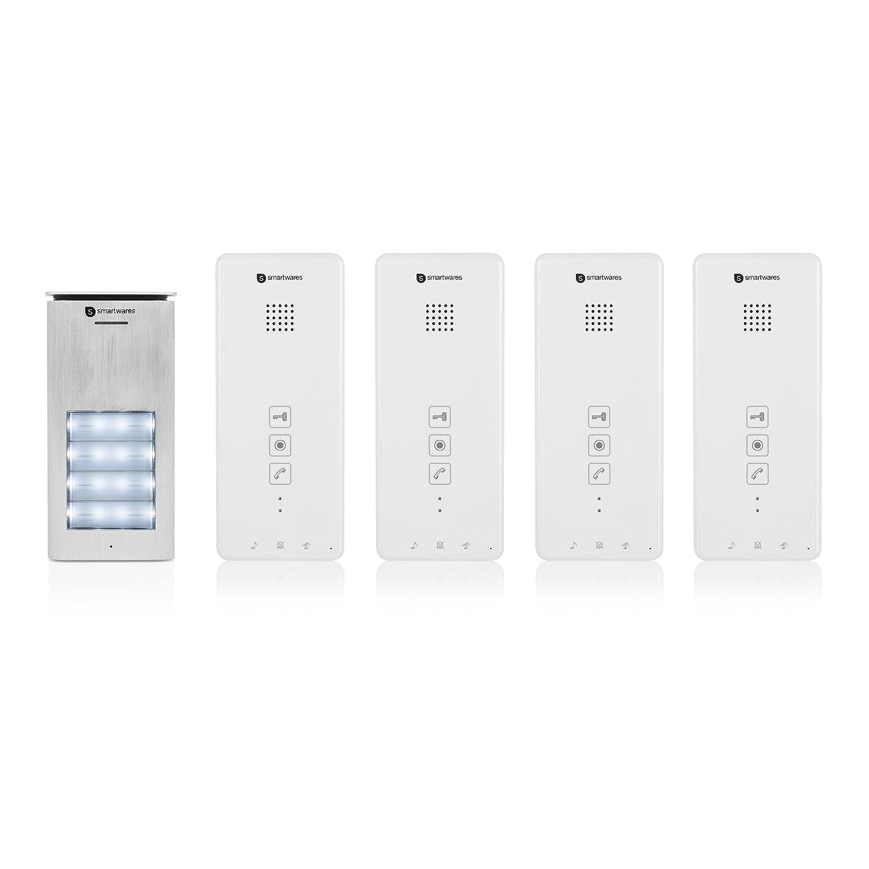 52 Melodien 2-Wege-Kommunikation Smartwares DIC-21142 Gegensprechanlage Wasserdichte Au/ßeneinheit Einfache 2-Draht-Installation Beleuchteter Klingelknopf Set f/ür 4 Wohnungen