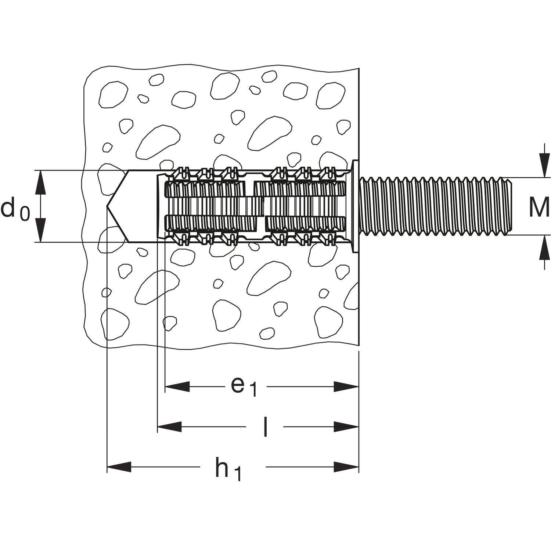 Gris Caja de 50 Uds Fischer 542106 Taco Rodforce para barilla roscada Fgd 10 M6 //