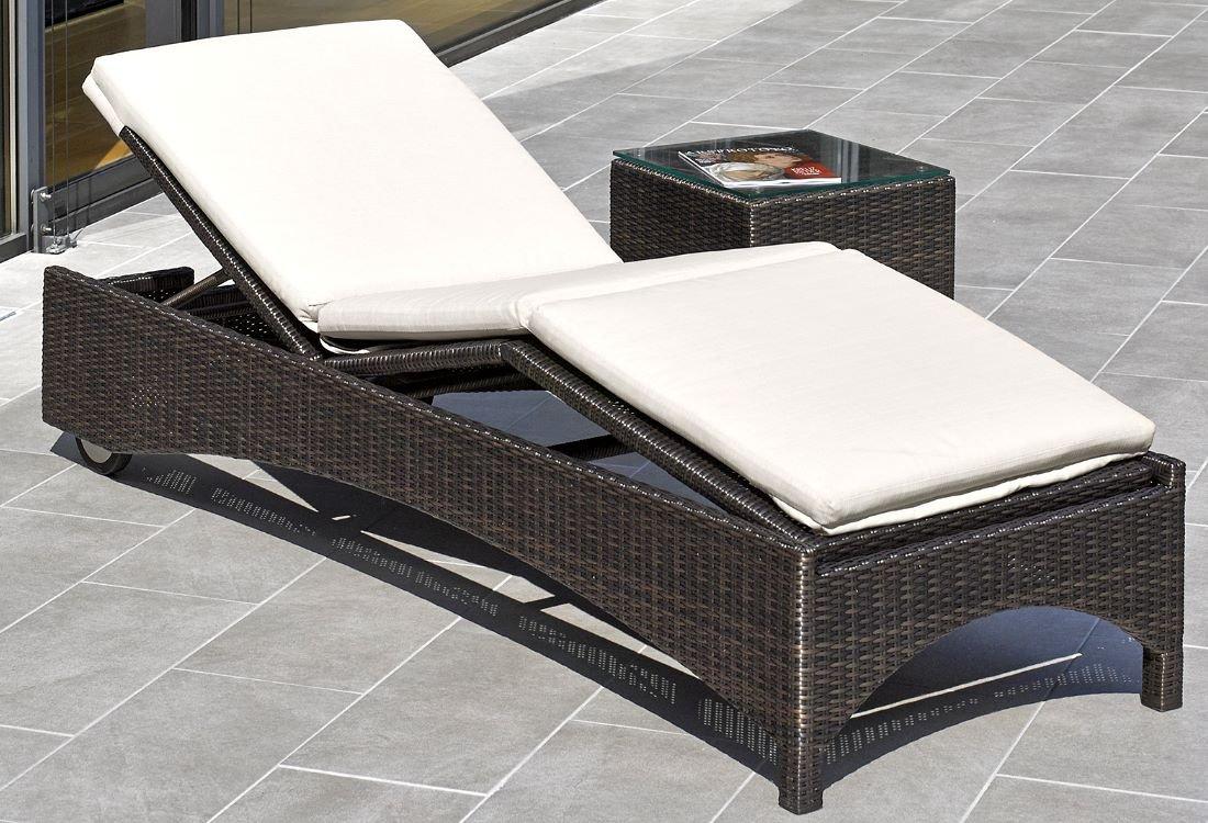 Destiny Gartenliege Bolivar Bronze Rollliege mit Auflage Sand Relaxliege