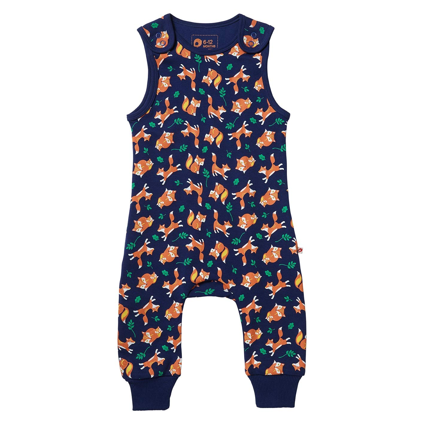 Piccalilly Organic Cotton Navy Blue Unisex Fox Print Dungarees