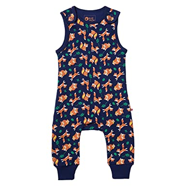 3877e8bb1fd4 Piccalilly Childrens Fox Theme Dungarees Organic Cotton Navy Blue ...