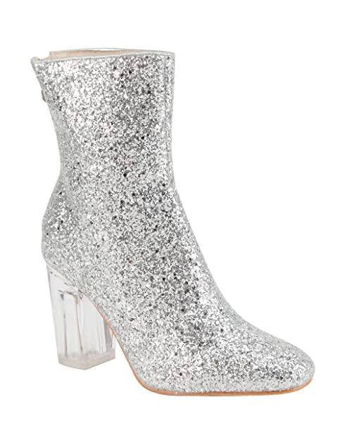 CAPE ROBBIN Nina-6 Closed Toe Perspex Clear Lucite Block Heel Glitter Ankle  Bootie Boot