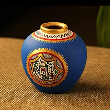 Buy ExclusiveLane 6 Inch Warli Handpainted Living Room & Home Decorative  Matki Shaped Flower Terracotta Vase (Blue) - Flower Pots Artifacts  Terracotts Pots Home Decor Gift Item Online at Low Prices in