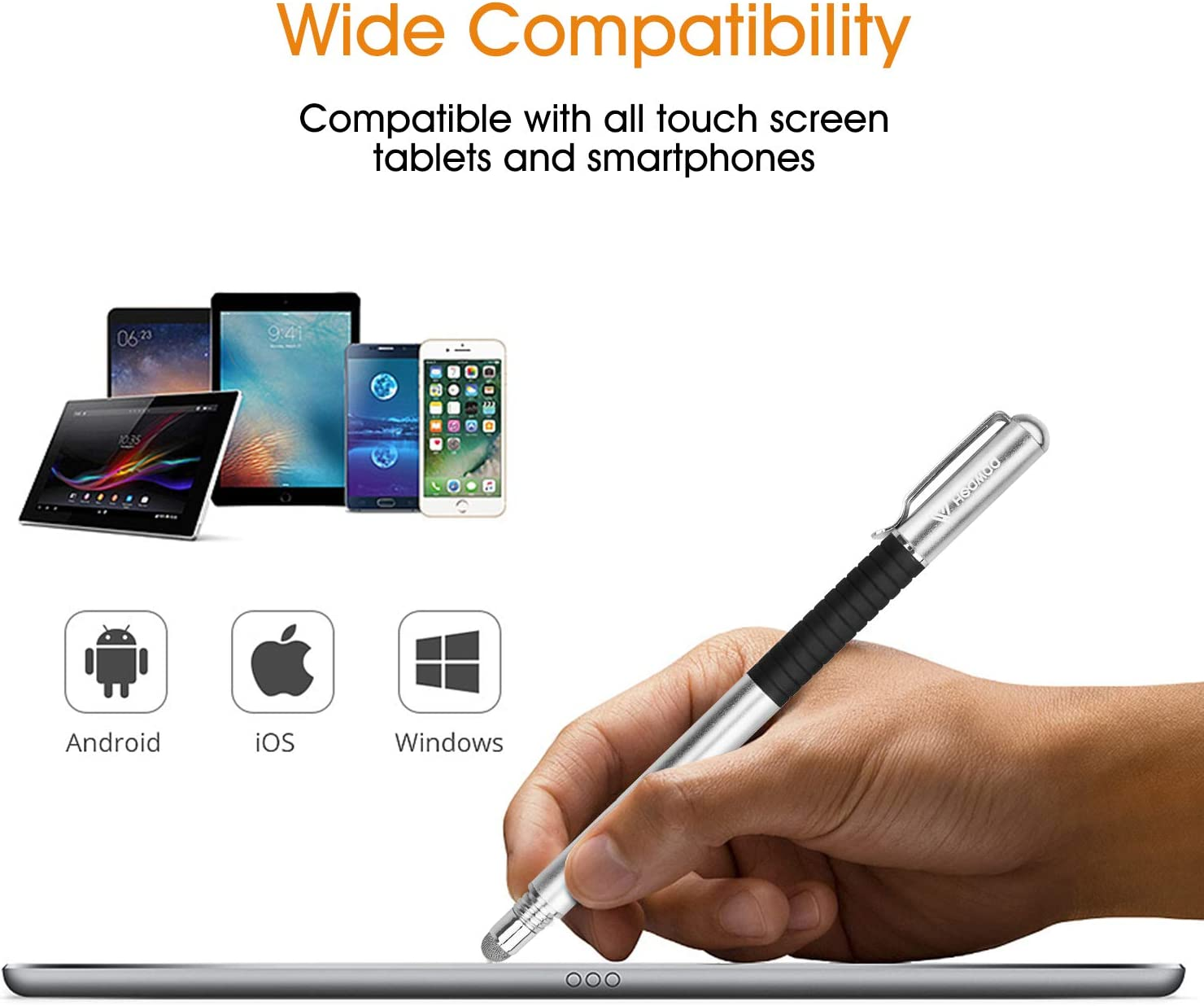 Galaxy iPad Mini iPhone Tab HEAWAA Capacitive Stylus Pen 2-in-1 Styli Touch Screen Pen with 3 Replacement Tips for Smartphones Laptop 1-Pack, Silver Tablet Pro Note