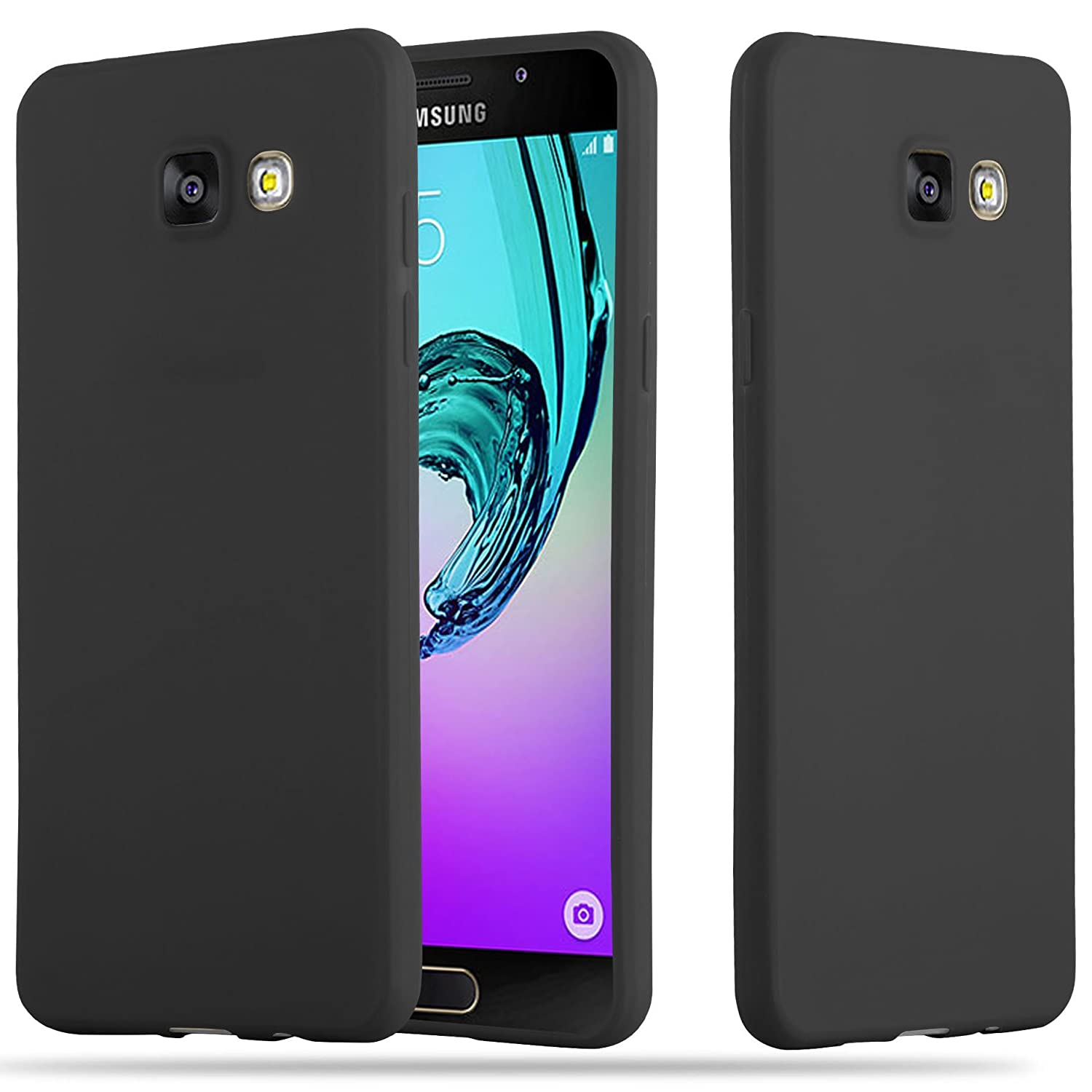 Cadorabo Case Works with Samsung Galaxy A5 2016 in Candy Black – Shockproof and Scratch Resistant TPU Silicone Cover – Ultra Slim Protective Gel Shell ...