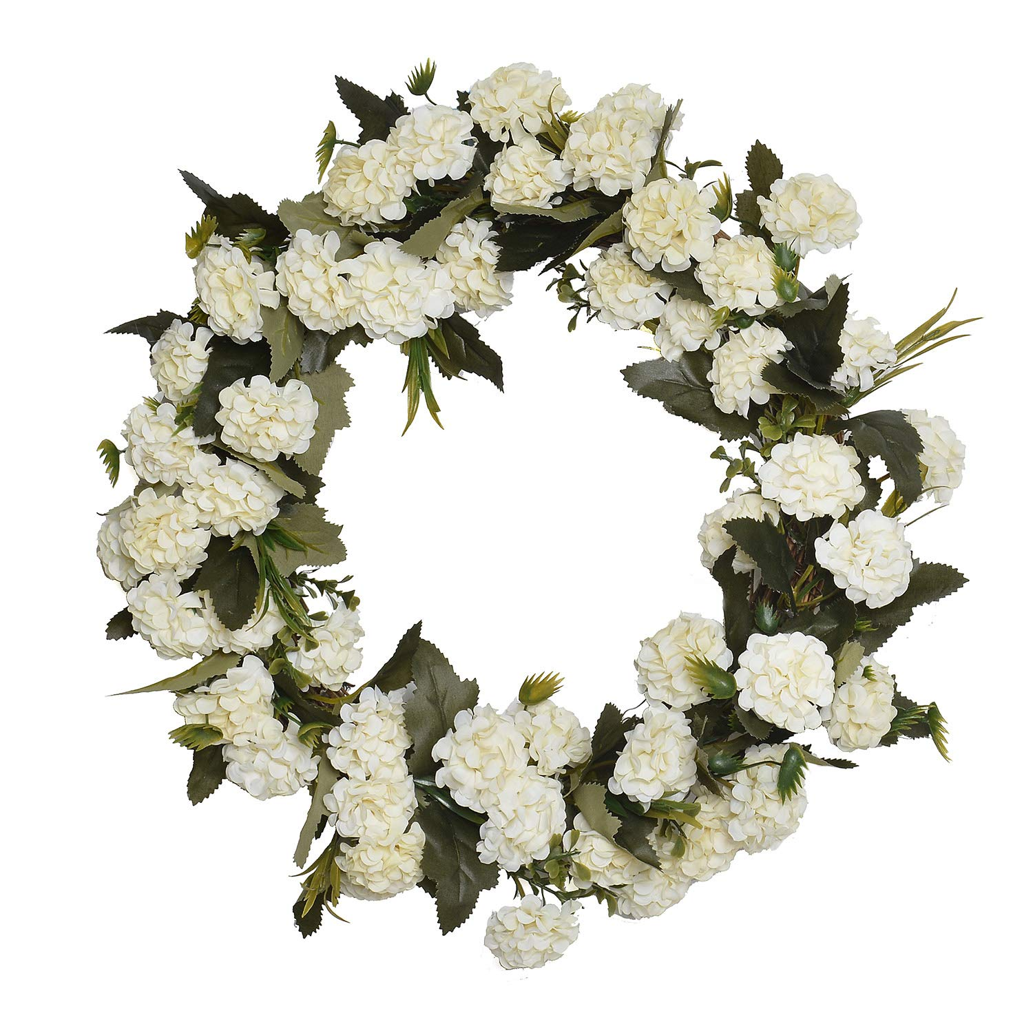 FAVOWREATH 2018 Vitality Series FAVO-W117 Handmade 14 inch White Carnation,Wild Grass,Leaf Grapevine Wreath for Front Door/Wall/Fireplace Hanger Nearly Natural Everyday Home Decor by FAVOWREATH