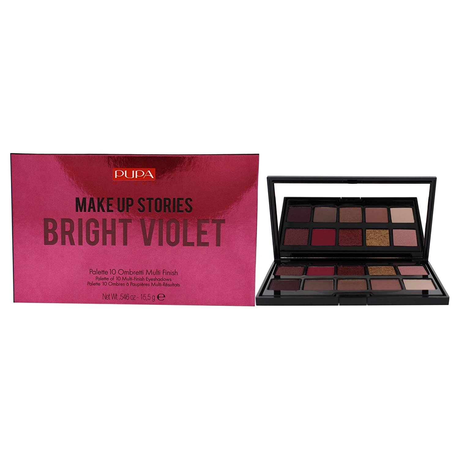 Pupa Milano Make Up Stories Eyeshadow Palette – Palette Of 10 Eyeshadows For An Out-Of-The-Box Mauve Look – Extraordinary Coverage and Perfect Adherence – 003 Bright Violet – 0.63 Oz