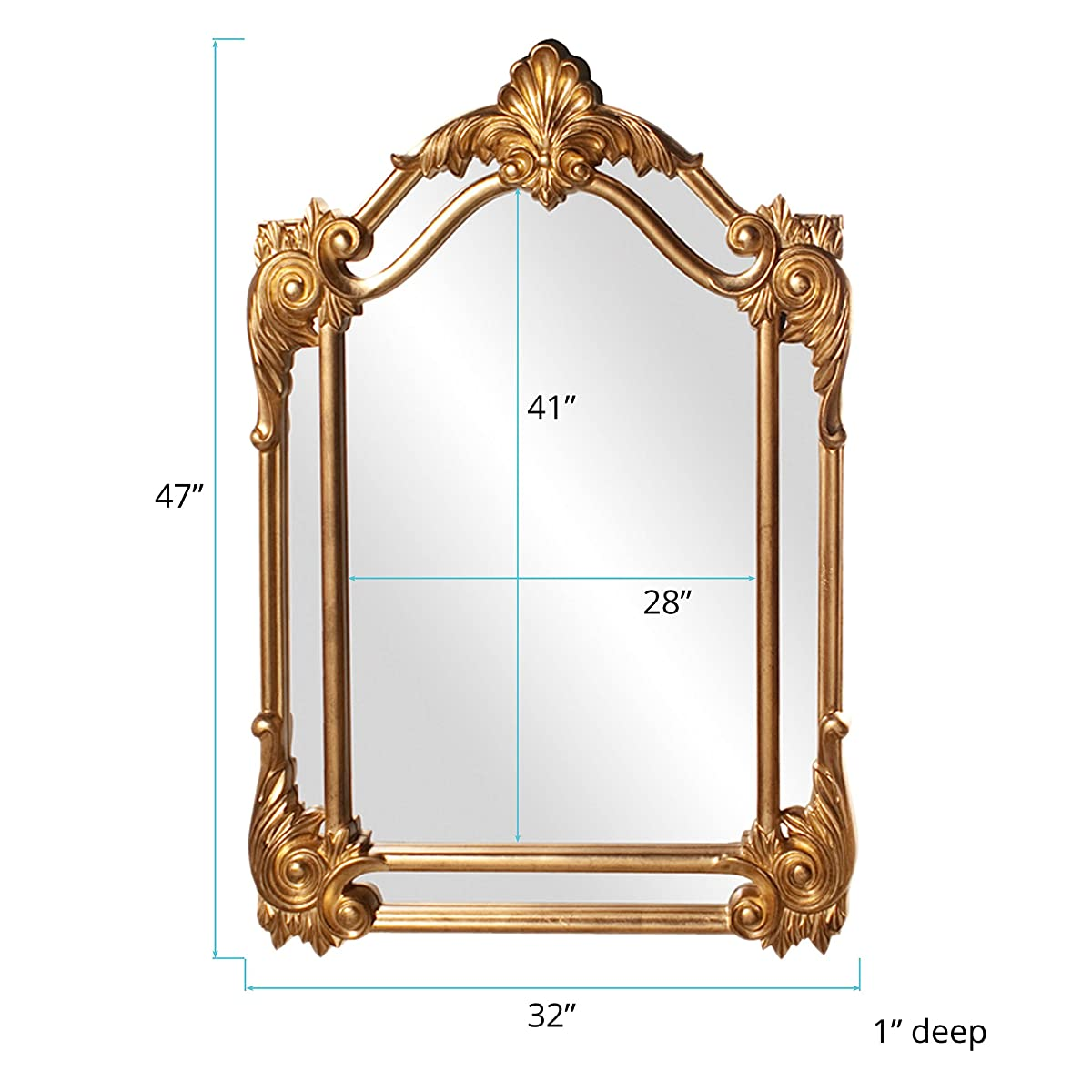 Howard Elliott 56004 Cortland Rectangular Mirror, 32 x 47-Inch, Antique Gold Leaf