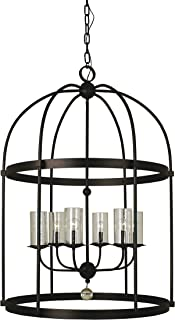 product image for Framburg 1106 MBLACK 6-Light Compass Foyer Chandelier, Matte Black