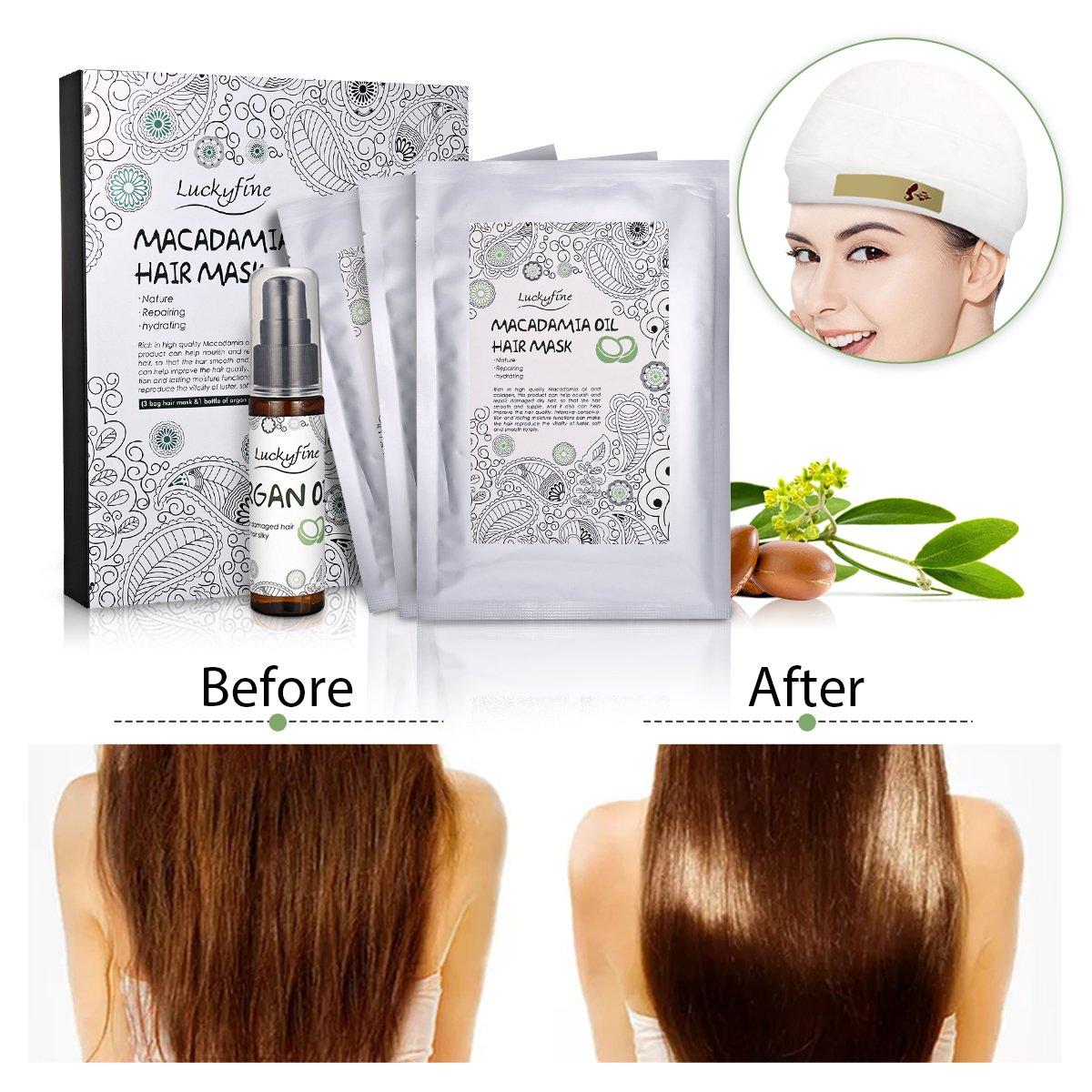 Luckyfine 3pcs Hair Mask Deep Moisture & Nourishing Hair Sheet Mask for Dry or Damaged Hair - with 30 ml Argan Oil