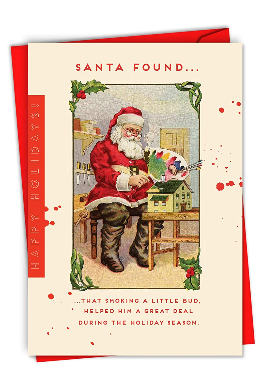Amazon.com : Santa\'s Little Bud: Humorous Christmas Greeting Card ...
