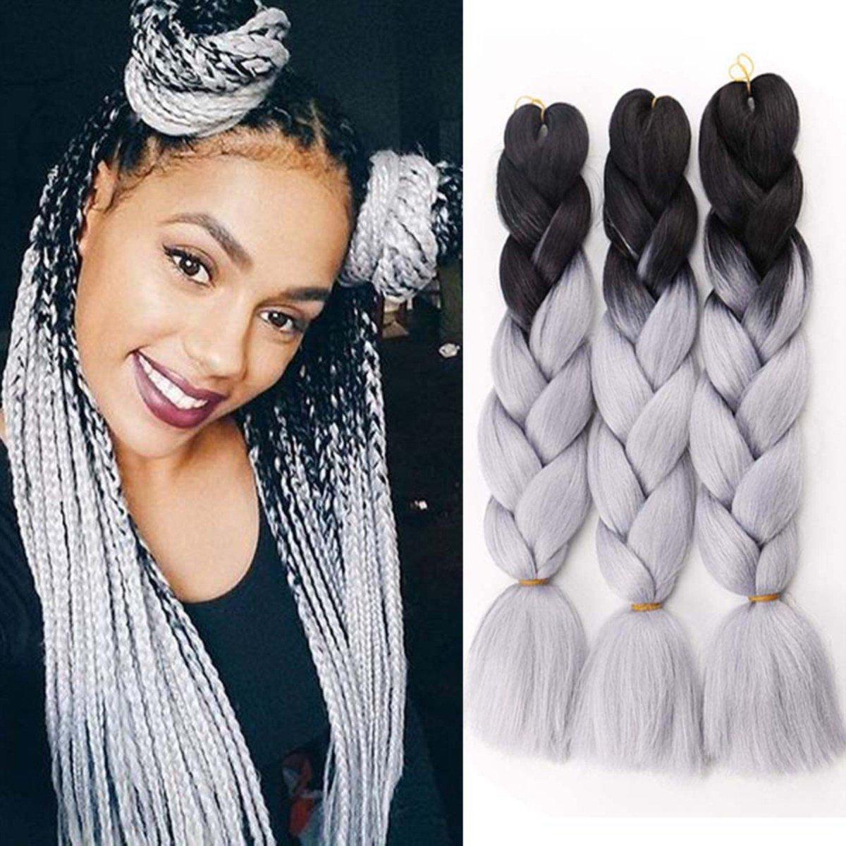 Jumbo Braiding Hair extensions colorato per capelli Kanekalon sintetica DIY crochet trecce box ombre 2TONE nero-argento grigio pezzi 100g/pz 61cm Wellmi