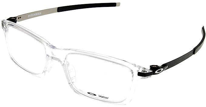e0fbd9df67 Oakley Rx Eyewear Men s Ox8050 Pitchman Clear Frame Metal Plastic ...