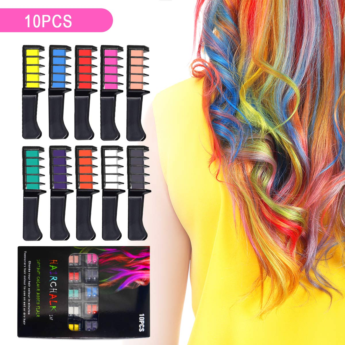 Ahier 10 Colors Hair Chalk Comb, Temporary Hair Chalk Set Hair Beauty Tool  for Kids Girls Women, Washable Non-toxic Hair Color for Dye Hairs