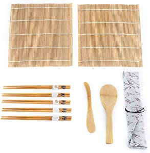 9pcs/Set Bamboo Sushi Kit Includes 2 Rolling Mats, 5 Pairs of Chopsticks with Storage Bag, Paddle, Spreader Beginner Sushi Making DIY Kit