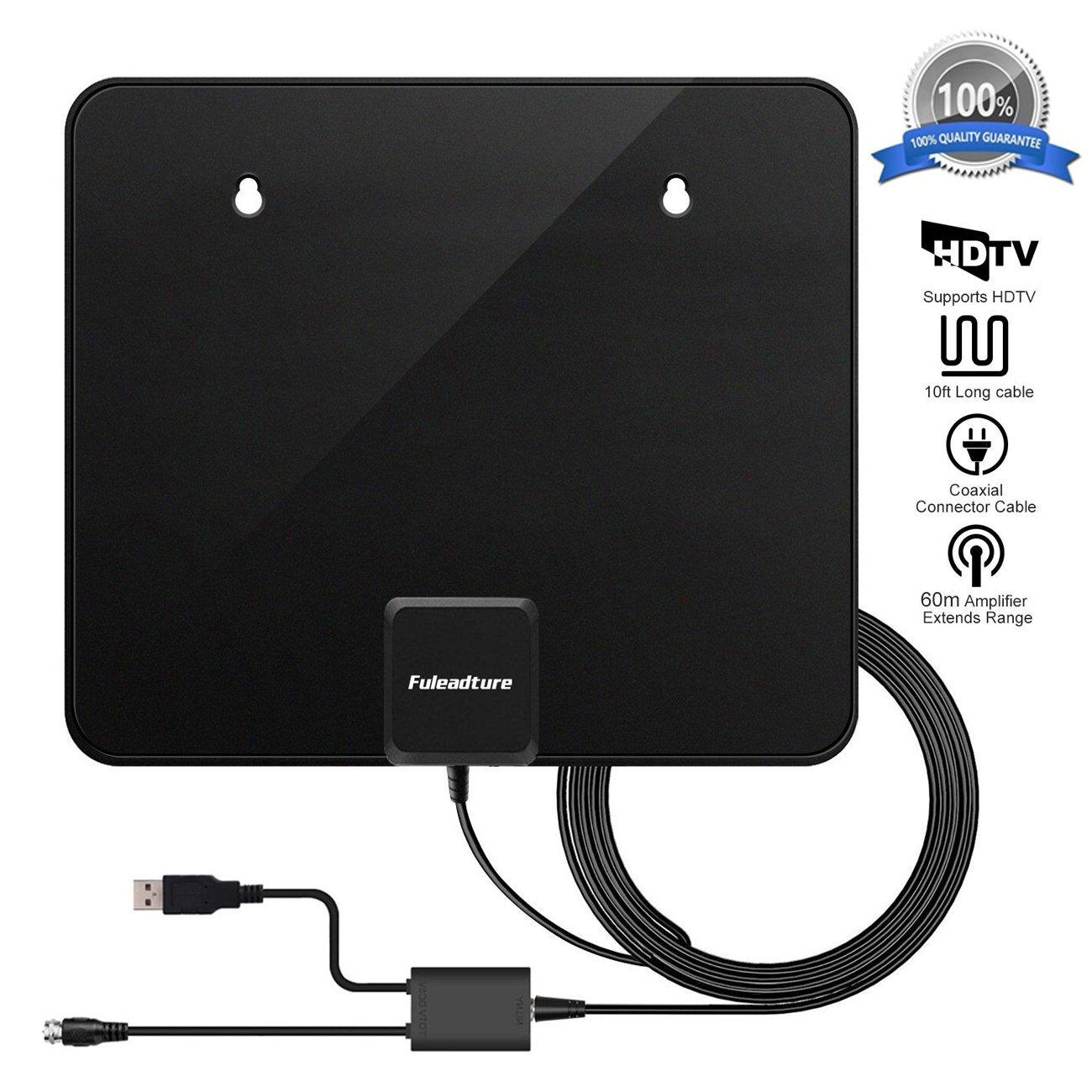 Antena de TV, Fuleadture Ultra plana Antena Interior 1080P HDTV Amplificador 60 Miles Gama de Recepción 3m de cables de alto rendimiento Duraderos y ...