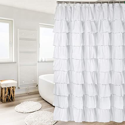 Amazon Dora Liz White Silver Ruffle Shower Curtain Fabric