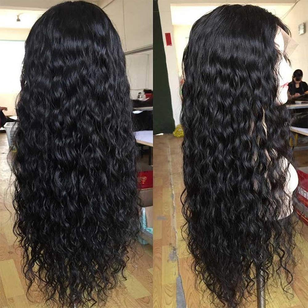 261d5c6f7 13x6 Lace Front Human Hair Wigs 130% Density for Black Women Curly Wave  Brazilian Remy Hair Pre-Plucked Natural Hairline with Baby Hair 16 inch: ...