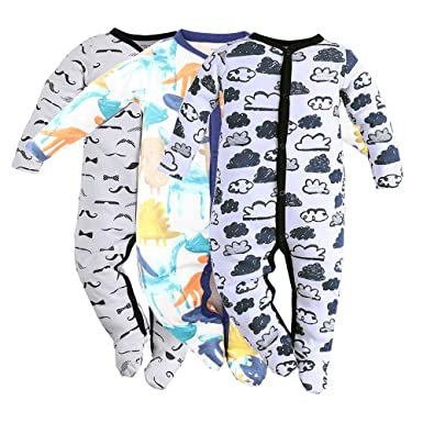 94abef8e5c1 Baby Footed Pajamas Sleeper for Boys - 3 Packs Infant Cotton Long Sleeve  Jumpsuit Newborn Romper