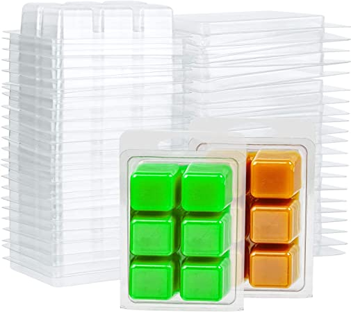 6 Cavity Clamshells Molds Heart Shape Plastic Cube Tray for Soap Candle-Making Set of 20 Bongba Candle Wax Melts