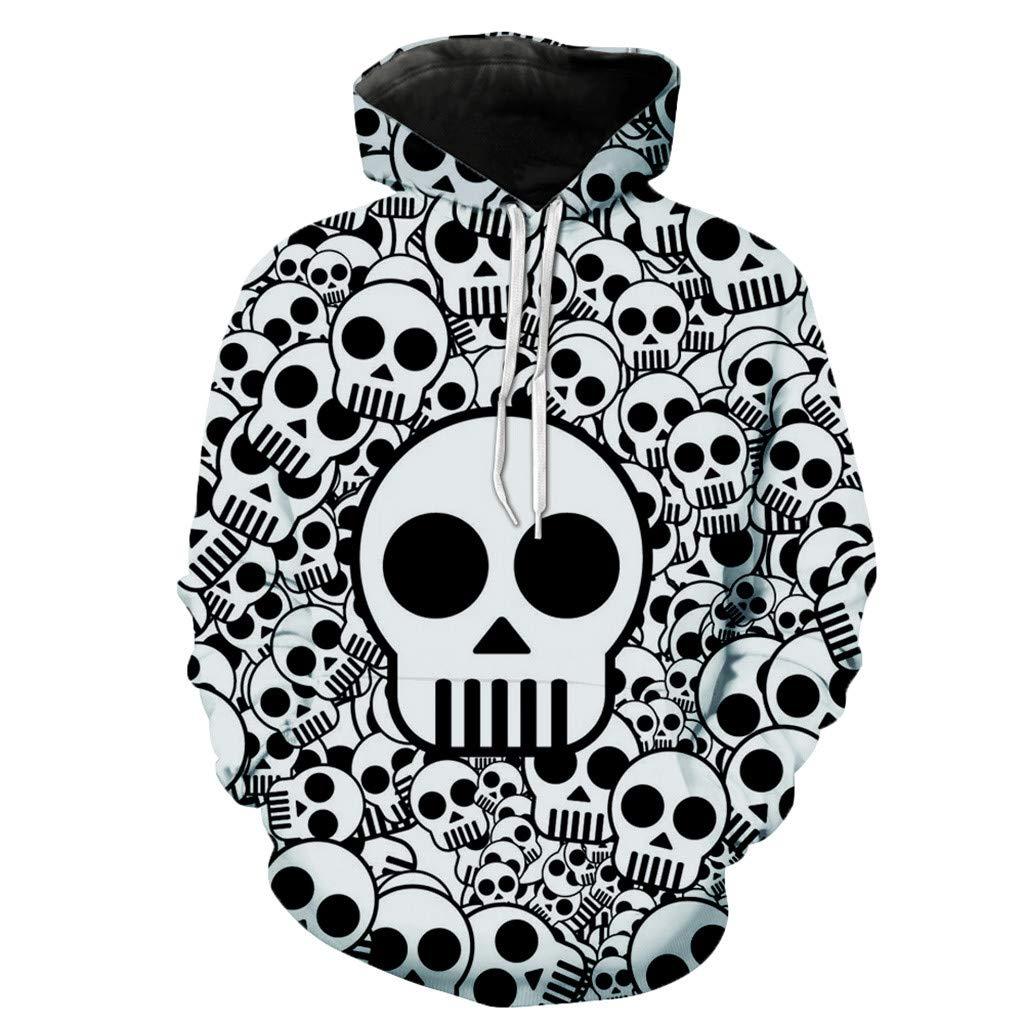FIN86 Women Halloween Skull 3D Print Party Long Sleeve Pullover Hooded Sweatshirt by FIN86