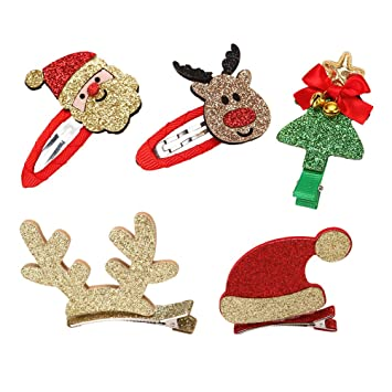 Christmas Giveaways For Kids.Amazon Com Bestoyard 5pcs Christmas Hair Clips Pins