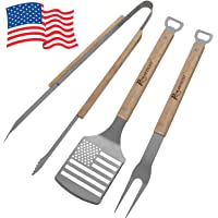 ROMANTICIST 5pc Heavy Duty Grill Accessories Set - Extra Thick Stainless Steel Grill Set for Barbecue Griddle Outdoor Cooking - Professional & Essential BBQ Accessories for Men Women Grill Master