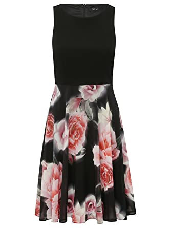 M&Co Petite Ladies Sleeveless Floral Print Prom Fit Flare Party Dress Black 8