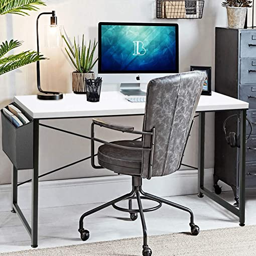 BOLUO Computer Desk 39 inch White Home Office Table