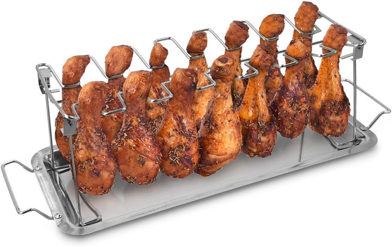 Navaris Soporte para Muslos y alitas de Pollo - Apoyo de Acero Inoxidable para Piezas de Pollo - Accesorio de Parrilla Barbacoa y Horno con Bandeja de Goteo
