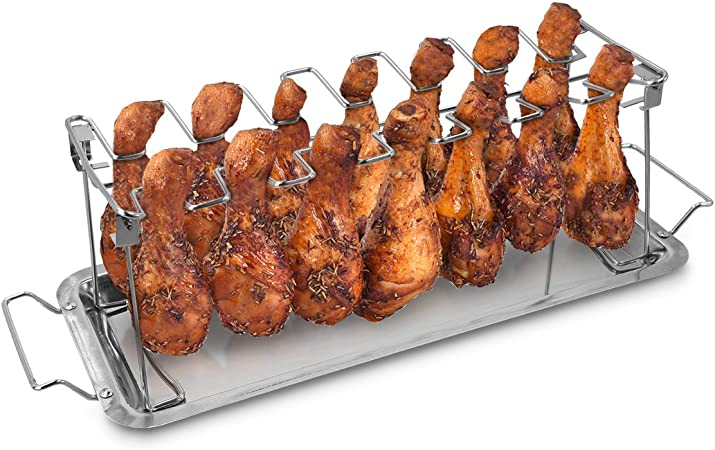 Fits Grill Smoker or Oven 14 Slots BBQ Poultry Chicken Leg Roaster /& Drip Tray
