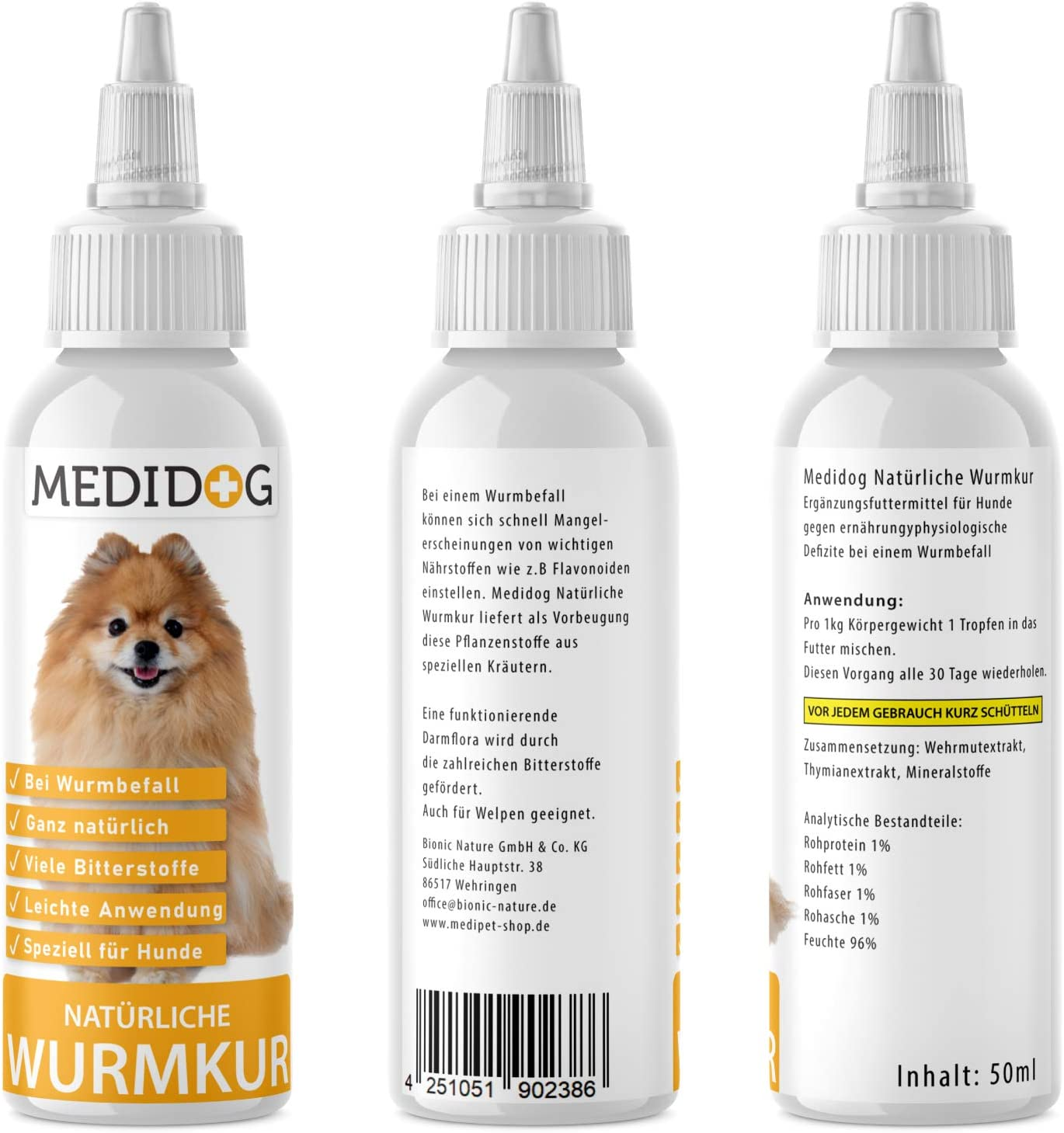 Medidog Naturliche Wurmkur Fur Hunde Bei Wurmbefall Giardien Flussige Wurm Tropfen Auch Fur Katzen Vogel Huhner Geeignet Amazon De Haustier